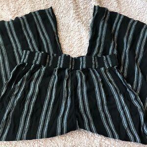 Wideleg Pinstripe Pants